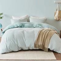 历史低价:淘宝心选 全棉针织条纹四件套 床笠款 1.5m床