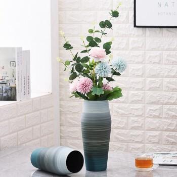 Hoatai Ceramic 华达泰陶瓷 北欧手工陶瓷花瓶摆件 手彩孔绿大号+尤伽绿蒲公英套装