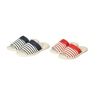 日本NITORI尼达利 条纹针织春夏拖鞋 海军家居男女士拖鞋女