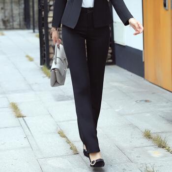 俞兆林 时尚工装夏季职业女裤修身正装YWXF183303黑色裤子M