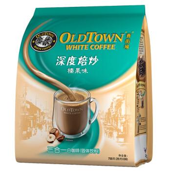 马来西亚进口 旧街场(OLDTOWN) 深度烘焙 榛果味30条袋装 3合1速溶白咖啡 750g