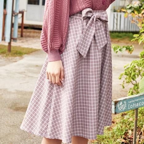 LED'IN 乐町 CWGF81429 女士格纹半身裙