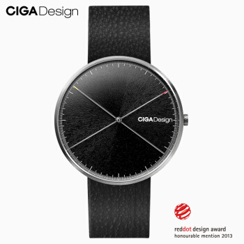 CIGA Design 男款 石英腕表 (41-43mm、牛皮、黑色、圆形)