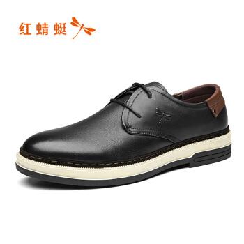 RED DRAGONFLY 红蜻蜓 男 休闲皮鞋 牛皮 车缝线 休闲皮鞋 WTA73681/82/83 黑色、41