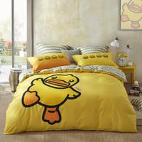 LOVO罗莱生活出品 B.Duck小黄鸭授权全棉卡通儿童斜纹床上四件套 新的一天 200*230cm