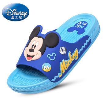 DISNEY 迪士尼儿童凉拖鞋 卡通男童女童舒适家居拖鞋 中童电光蓝210码 5765