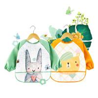 优贝迪 宝宝吃饭罩衣 婴儿围兜 卡通围嘴儿童饭兜防水画画反穿衣 迷森绿+活力橙(两件装)