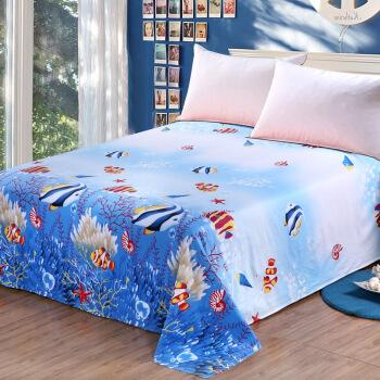 艾薇 床品家纺 单人床单单件纯棉卡通被单1米/1.2米(海底世界152*210)