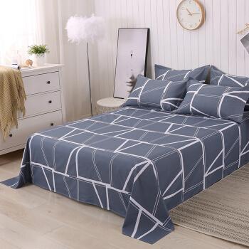 艾薇 床单家纺 全棉斜纹印花被单 双人纯棉床单 单件 蓝韵格 1.5/1.8米床 230*250cm