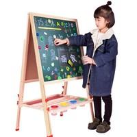 拥抱熊 实木儿童画架双面小黑板支架