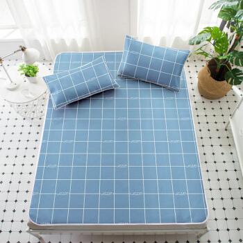 艾薇 凉席家纺 夏天双人冰丝席 可水洗空调席子 蓝色大海 1.8米床