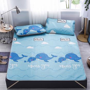 艾薇 凉席家纺 夏天双人冰丝席 可水洗空调席子 小鲸鱼 1.8米床
