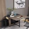 浪漫星 北歐折疊餐桌椅組合 現代簡約家用飯桌 小戶型長方形圓餐桌子(灰橡木色 餐桌)