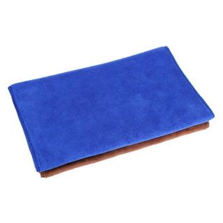 天气不错 高品质超细纤维洗车毛巾 擦车毛巾吸水毛巾加厚型 30*70cm两条装 蓝色+咖啡色 汽车用品