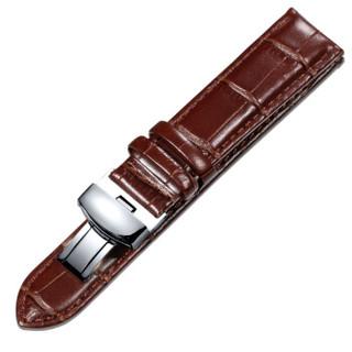 积优JEAYOU 手表配件 真皮手表带 牛皮手表带 蝴蝶扣通用表带 男20GZPT02