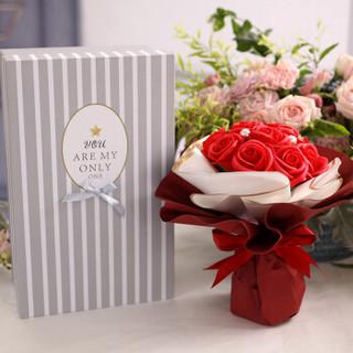 初朵保鲜花速递11朵红色圆手捧香皂玫瑰花礼盒520情人节鲜花生日母亲节礼物送女生送女友送老婆