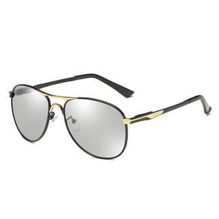 陌龙(Molong)智能偏光变色眼镜防紫外线蛤蟆驾驶镜男司机开车男士墨镜浅色变色BML8722 黑框金边