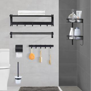 箭牌(ARROW)太空铝毛巾架杆浴巾架卫生间浴室置物架卫浴黑色五金挂件套装AEHGYL10140T-JZ