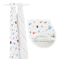 aden+anais 多功能襁褓包巾礼盒套装 2条包被+1口水巾