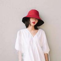 Mo eRa 女士雙面純色漁夫帽