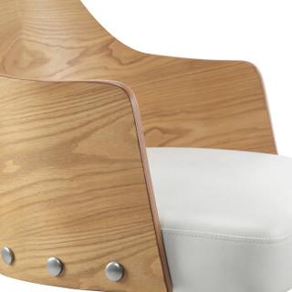 佳佰 佳佰 电脑椅 北欧现代创意实木电脑椅家用会议洽谈办公椅升降转椅职员书桌椅原木色