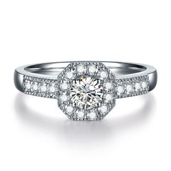 鸣钻国际 白18k金钻石戒指
