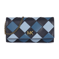 MICHAEL KORS 邁克.科爾斯 MK女包 MOTT系列 女士藍色混色皮革編織單肩斜挎包 30H8BOXC3T ADMIRL MULTI