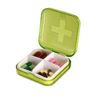 雨露 便携药盒 4格款 颜色随机 送切药器