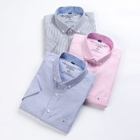 雅鹿 Y7031910301 男士牛津纺短袖衬衫