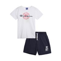 Champion ?#22411;?印花纯棉 红灰/白蓝/蓝红 T恤短裤套装 3-14岁