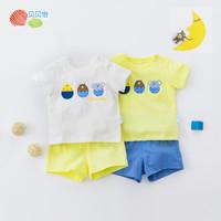 贝贝怡童装男女童短袖套装夏季纯棉透气卡通婴儿衣服宝宝两件套