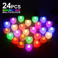 FOOJO LED电子蜡烛灯 生日浪漫求婚布置表白装饰 心形多彩款24只 *3件