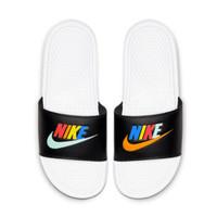 耐克NIKE 男子 拖鞋 BENASSI JDI MISMATCH GEL炫彩字母Logo透气沙滩运动休闲拖鞋 CJ4608-071黑色41码