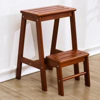 家逸  实木门口换鞋凳多功能家用折叠凳两用阶梯凳欧式室内楼梯椅子(两层梯凳)