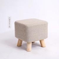 优涵  家用实木矮凳儿童圆凳茶几凳小板凳家用换鞋凳沙发凳子(浅灰色方凳)