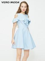 Vero Moda2019夏季新款复古荷叶边无袖牛仔连衣裙|319242502