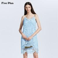 Five Plus新款女夏装蕾丝连衣裙无袖V领短款吊带裙子气质镂空纯色