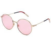 GUCCI 古驰 eyewear 女款太阳镜 金属墨镜 GG0395SK-004 金色镜框粉色镜片 57mm