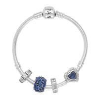 PANDORA 潘多拉 蓝色纯洁之心串珠手链 PDL0323-18