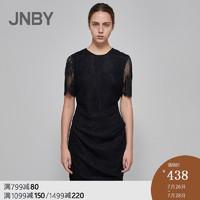 JNBY/江南布衣2019夏季新品優雅蕾絲收腰短袖連衣裙女5I4500390