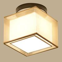 HD LED新中式燈具 客廳臥室吸頂燈 新古典中國風仿古照明燈飾 方形陽臺燈  20*20*20cm 5-10㎡