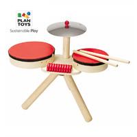 進口PlanToys6410架子鼓 木制兒童音樂敲打樂器玩具