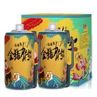 《2019金豬賀歲版》青島亮動原漿黃啤酒2L*2桶禮盒箱裝 全麥精釀拉格 金特自營國產超市啤酒