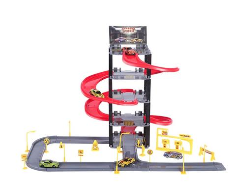 GUANGWEI 儿童停车场轨道汽车套装 单栋款 (5层停车场+5辆合金车)