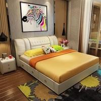 忆斧至家 真皮双人床 皮床+天然山棕床垫+2柜 1.8米