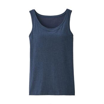 无印良品 MUJI 女式 含桑蚕丝 带罩杯背心 海军蓝 L