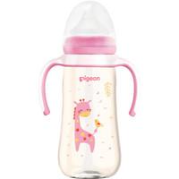 贝亲(Pigeon) 宽口径PPSU奶瓶 双把手 彩绘奶瓶 330ml 长颈鹿 AA171自然实感LL码奶嘴