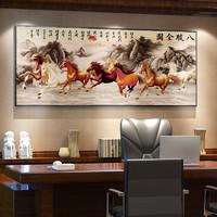 马到成功字画骏马图八骏图挂画新中式客厅墙壁画办公室装?#20301;?#22269;画