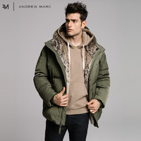 ANDREW MARC秋冬新款男式中长款常规连帽拉链加单排扣羽绒夹克