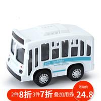 知識花園 兒童玩具車合金車回力車寶寶雙層巴士玩具公交汽車玩具仿真模型 單層巴士合金回力 白色 *3件